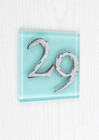 Light Blue Glass Modern House Number Sign
