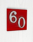 Red Modern Glass House Number Sign