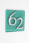 Sea Green Modern Glass House Number Sign