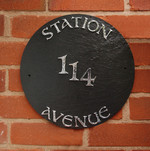 Slate House Name Sign �Round House� Circular Plaque Created in Natural Slate