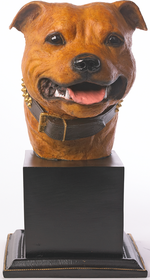 Specially commissioned tan coloured Staffordshire Bull Terier bust