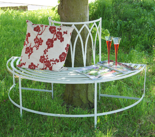 """maylock manor wrought style iron tree bench black"