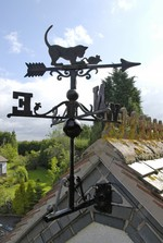 Weathervane - Black Iron - Cat & Mouse