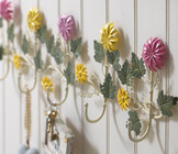 Coloured Flower 5 Hook Coat Rack