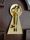 Polished Brass Key Door Knocker with Back Plate