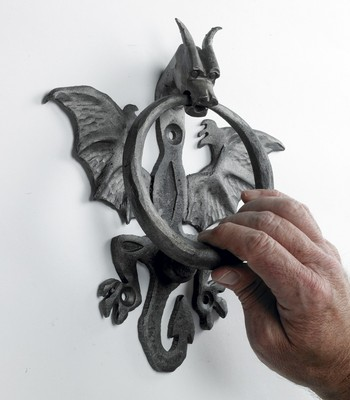 Nahu raw iron dragon door knocker door knockers blacksmith ironmongery catalogue black - Dragon door knocker ...