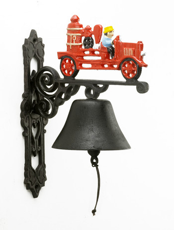 Hand Painted Red Fire Engine Garden Bell Hand Painted