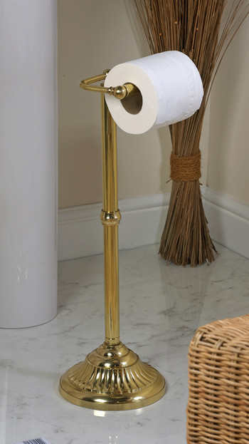 Victorian Free Standing Toilet Roll Holder Polished Brass