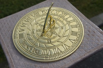 Time Flies Polished Brass Sundial Black Country Metal